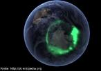 Imagem de uma aurora austral capturada em 11 de setembro de 2005 pelo satélite da NASA IMAGE. <br /><br />  Palavras-chave: Magnetismo, campo magnético da terra, pólo magnético, íons, raios cósmicos, luz.