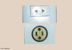 Tipos de tomadas comuns no Brasil, sem ligação de terra. <br /><br /> Palavras-chave: Eletricidade, circuitos, plugue.