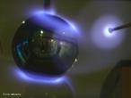 Imagem de uma aurora polar produzida em laboratório. <br /><br />  Palavras-chave: Magnetismo, campo magnético da terra, pólo magnético, íons, raios cósmicos, luz.