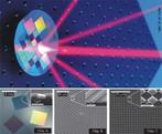 A imagem mostra uma grade microfabricada gerando quatro novos feixes de luz, a partir de um feixe único.