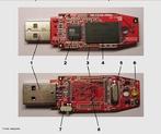 Componentes internos de um pendrive: 1- Conector USB 2- Dispositivo de controle de armazenamento USB 3- Pontos de teste 4- Chip de memória flash 5- Cristal oscilador 6- LED 7- Chave de proteção contra gravação 8- Espaço para um chip de memória flash adicional <br /><br />  Palavras-chave: Tecnologia, memória flash, energia, computador, conector, eletrônica, informática, led, chip.
