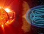 Vento solar é um feixe de partículas carregadas, elétrons e prótons, que são lançadas a partir da atmosfera do Sol, escapando da sua gravidade. <br /><br />  Palavras-chave:  Astronomia, Sol, Terra, magnetosfera, espaço, gravitação universal, vento solar, prótons, cometa, aurora, elétrons, tempestade magnética, plasma.