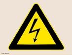 Imagem do símbolo internacional de alta tensão. <br /><br /> Palavras-chave: Eletromagnetismo, alta tensão, corrente elétrica, eletricidade, corrente alternada.
