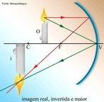 É uma superfície esférica que apresenta na parte interna o seu lado refletor. A natureza e a posição da imagem serão determinadas pelo cruzamento efetivo dos raios emergentes ou por seu prolongamento. Quando o objeto se encontra entre o foco e o centro de curvatura, têm-se uma imagem real, invertida e maior que o objeto. <br /><br /> Palavras-chave: Ótica, espelhos, imagem, objeto, esférico, raios, real, invertida, maior.